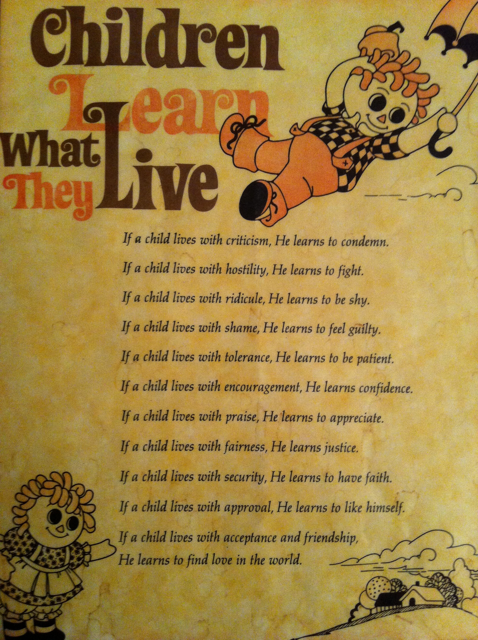 Children Learn What They Live | eBay