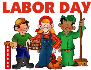 Labor Day logo - Various cartoon workers