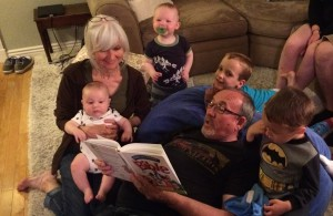 picture of Pop and LaLa reading Bible Storybook to grandsons