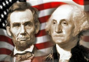 presidents-abraham-lincoln-left-and-george-washington-knew-a-little-k7SFUX-clipart